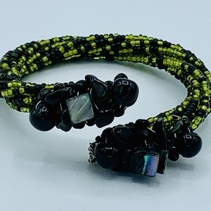 Olive Green and Black Beaded Cuff Bracelet